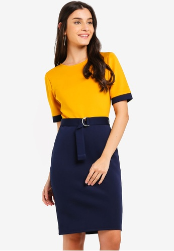 ZALORA yellow and navy Contrast Knee Length Dress With Belt 428D1AABF62FCAGS_1