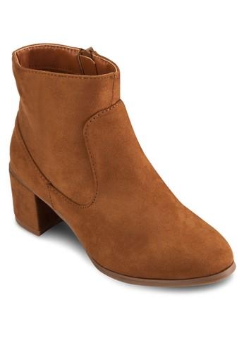 麂皮esprit 尖沙咀粗跟短靴, 女鞋, 靴子