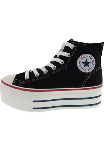 Maxstar 黑色 新款韩国鞋C50-7H時尚帆布布混合女黑色 US Women Size MA345SH39GVOTW_1