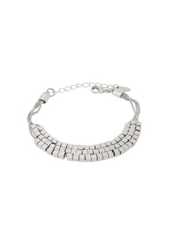 Jaysa Collection silver Palladium Cuboids Bracelet JA875AC0FNVUSG_1