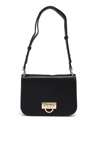 Forever New black Alina Metal Clasp Saddle Bag 57F2EACAF2562FGS_1