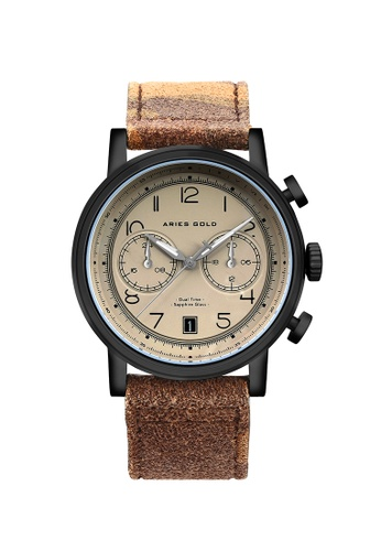 Aries Gold brown Aries Gold Urban Journey Beige, Black and Camo Khaki Brown Leather Watch 6EDA2AC3DDAB9AGS_1