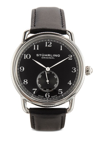 Stuhrling Original black Stuhrling Original Men's 207.02 Classic Cuvette Swiss Quartz Black Leather Strap Watch ST251AC93IJYMY_1
