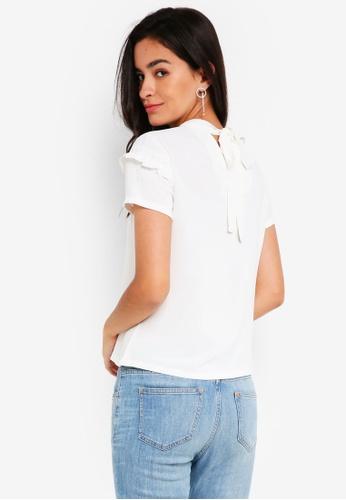 ZALORA white Ruffle Tie Back Top 4DEF5AA920751BGS_1