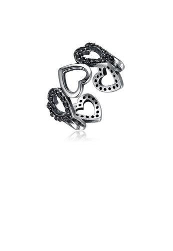 Glamorousky black 925 Sterling Silver Vintage Elegant Fashion Heart Shape Adjustable Opening Ring 40DA4AC4331221GS_1