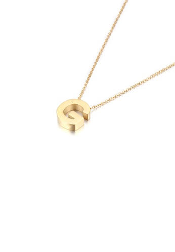Glamorousky silver Simple Personality Plated Gold English Alphabet G 316L Stainless Steel Pendant with Necklace 93A85ACC5128BBGS_1