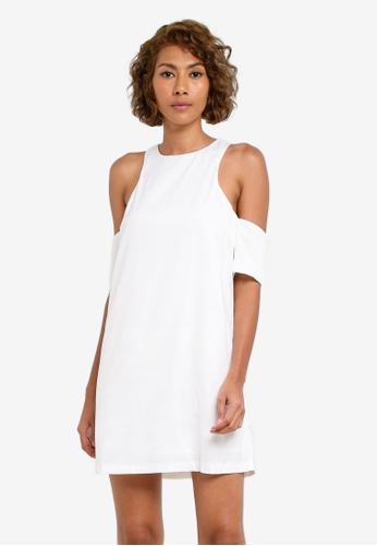 INDIKAH white Cold Shoulder Dress IN119AA0S0H7MY_1