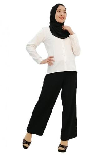 KAMDAR white Casual Roll-up Shirt 5112BAA6032ECFGS_1