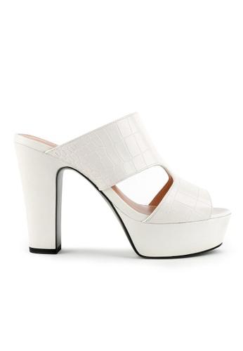Joy & Peace white Faux Croc Skin Platform Heeled Sandals JO458SH83JMAHK_1