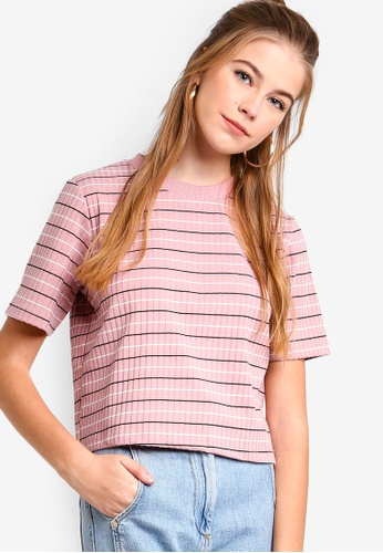 Something Borrowed pink Striped Box Tee 2E854AA9544784GS_1