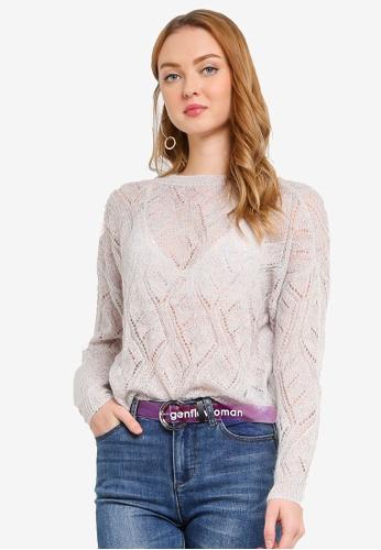Hopeshow grey Woolen Long Sleeve Sweater 2A45AAA7D97A26GS_1