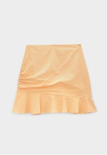 Pomelo orange Ruffled Hem Gingham Skirt - Orange B7310AA8B03300GS_1