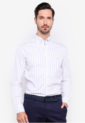 Sacoor Brothers blue Slim fit 120's double luxury cotton shirt 3B5D7AA1050FE4GS_1