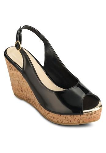Faschesprit香港分店ino 露趾繞踝木紋楔型跟涼鞋, 女鞋, 鞋