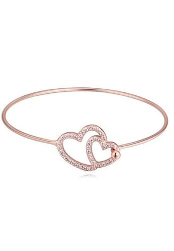 Vivere Rosse Tween Hearts Bangle - Rose Gold VI014AC32FAPMY_1