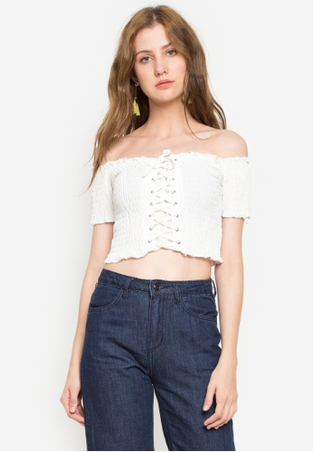 4f88cf55fd058f Shop Chase Fashion Smocked Tie Up Crop Top Online on ZALORA Philippines