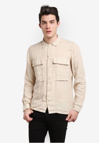 MANGO Man beige Regular-Fit Linen Shirt MA449AA0RGUXMY_1