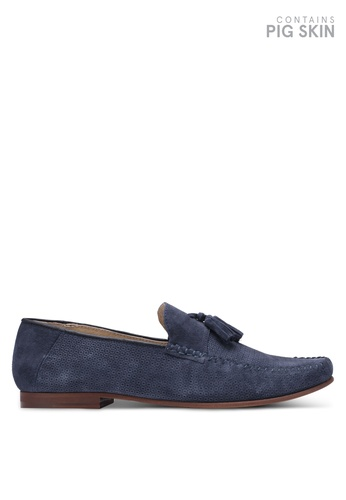 Topman navy Navy Suede Embossed Penny Loafers TO413SH0S7YUMY_1