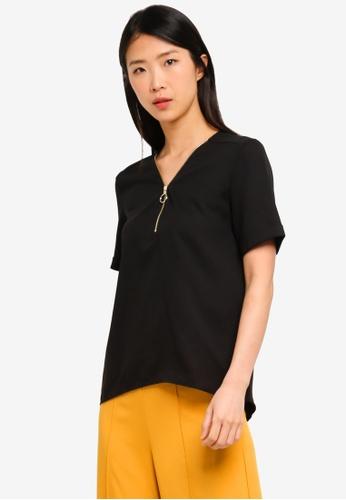 ZALORA BASICS black Basic Zipper Short Sleeves Top 4E662AABDD01A8GS_1