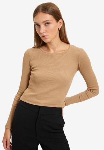Trendyol beige Long Sleeve Top F70CFAA8D86B1FGS_1