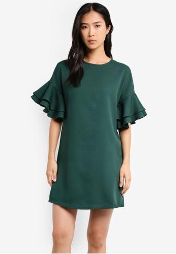 ZALORA green Ruffle Sleeve Dress B3707AAAB7F6CDGS_1