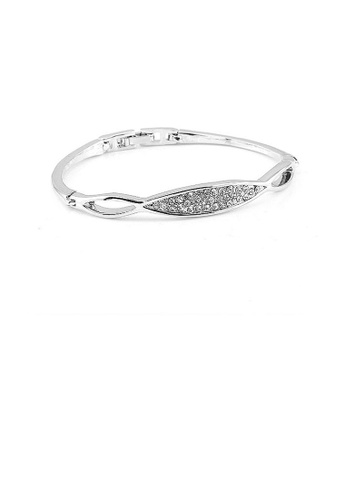 Glamorousky silver Elegant Bangle with Silver Austrian Element Crystal C0FE0AC4F6492DGS_1