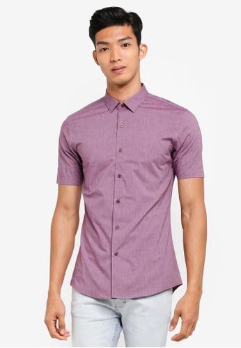 Topman purple Burgundy Turn Up Short Sleeve Shirt 80271AAADE8F6AGS_1
