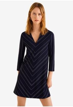 bfefb401ea5 MANGO blue and navy V-Neckline Dress 460E7AA73C8A3FGS 1