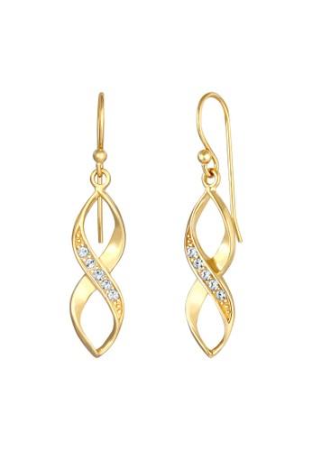 Elli Germany gold Perhiasan Wanita Perak Asli - Silver Anting Spiral Infinity Crystals Gold Plated 61D18AC16AFEA4GS_1