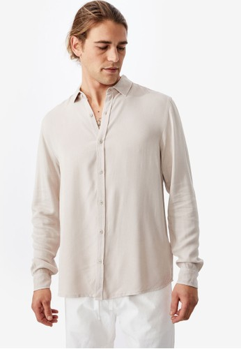 Cotton On beige Cayman Long Sleeve Shirt 4C9B4AA221B35DGS_1