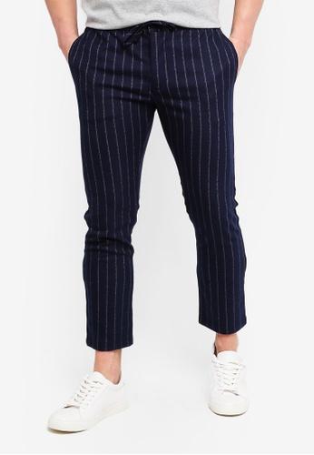 Topman navy Navy Stripe Trousers 41DB1AA3B48555GS_1