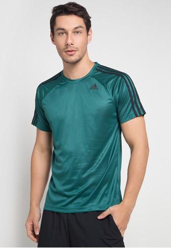 adidas green adidas d2m 3-stripes tee 0E4E9AAACF2EE0GS_1