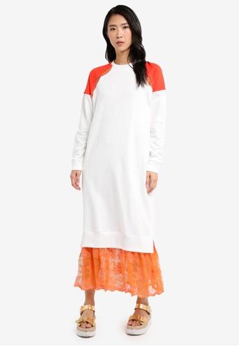 Mango white Lace Panel Dress 2F08AAA23411BCGS_1