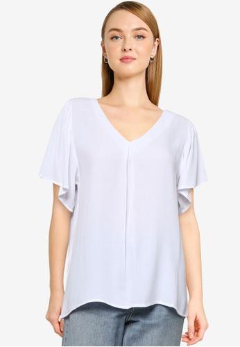 JACQUELINE DE YONG white Lea Short Sleeve Top E2CA7AA7B3FF05GS_1