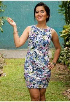 Floral Blue Base Classic Cut Bodycon Dress