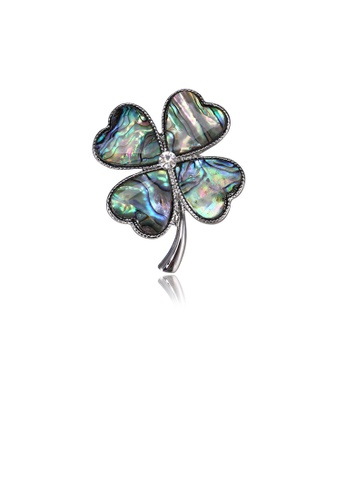 Glamorousky white Fashion and Elegant Four-leaf Clover Blue Shell Brooch with Cubic Zirconia 09105ACDAA5180GS_1
