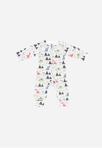 Baby Lovett white Dinosaur Park Two-Way Zipper Suit 20D9BKAA12997CGS_1