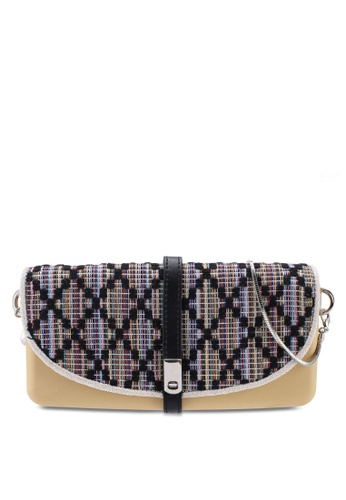 Hoola Hoola brown Camilla Clutch - Hazelnut Black ZigZag with Snake Chain 071BCACEE5987CGS_1