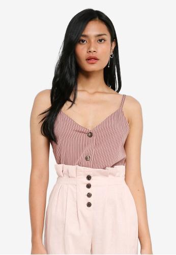 TOPSHOP pink Petite Stripe Ruffle Bardot AF247AAA252AADGS_1