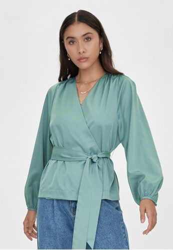 Pomelo green V Neck Belted Blouse - Green CE62CAAAC983C1GS_1