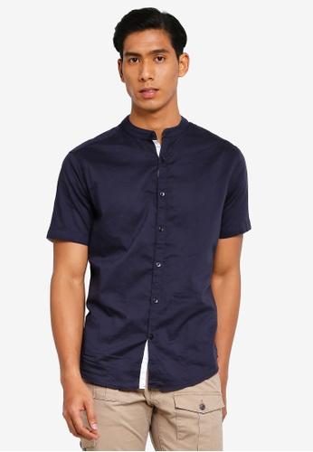 OVS 海軍藍色 Mandarin Collar Shirt 04D75AA1E9BFADGS_1