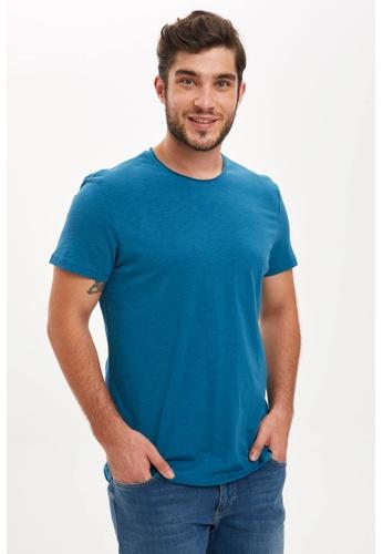 DeFacto blue Man Knitted T-Shirt 130DCAAE1E6972GS_1