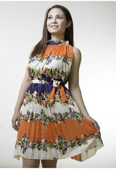 Turtleneck Print Chiffon Knee-Length Sleeveless Dress
