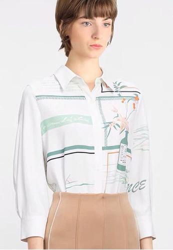 Twenty Eight Shoes white VANSA Printed Long Sleeve Shirts  VCW-Sh4934 55081AA12A1C44GS_1