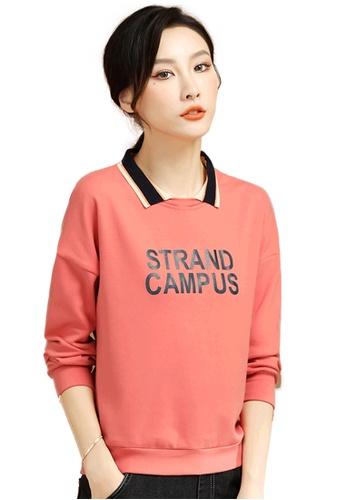 A-IN GIRLS orange Simple Printed Lapel Sweatshirt DC2E8AA5184844GS_1