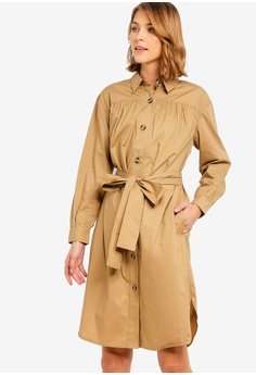 676abc06021 French Connection beige Southside Cotton Belted Shirt Dress  0B2B6AA9F9E9AEGS 1