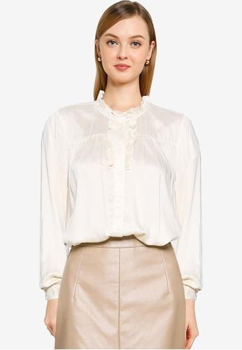 Vero Moda beige Fagia Long Sleeve Shirt B158BAA0EC6D11GS_1