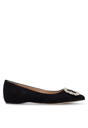 ALDO 黑色 鑽飾麂皮平底鞋 61FDASH8A5F54BGS_1
