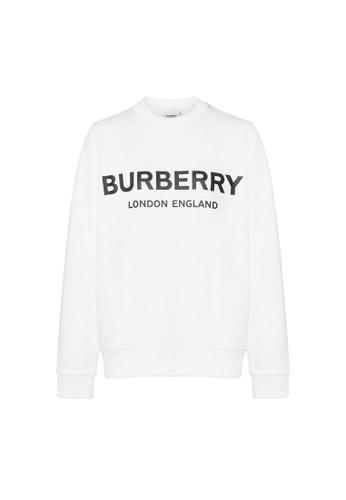 Burberry white Burberry Logo Print Sweatshirt in White 9D33FAA1329D3AGS_1