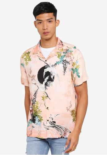 River Island 粉紅色 Short Sleeve Pink Crane Revere Shirt 66CE1AA72BCB94GS_1